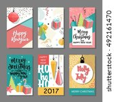 set of merry christmas and new... | Shutterstock .eps vector #492161470