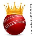 cricket ball in golden royal... | Shutterstock .eps vector #492162574