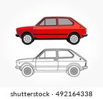 detailed side of a flat red... | Shutterstock .eps vector #492164338