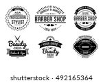 set of vintage barber shop logo ... | Shutterstock .eps vector #492165364