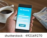 close up smartphone with... | Shutterstock . vector #492169270