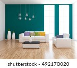 blue empty interior with white... | Shutterstock . vector #492170020