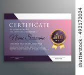 certificate template with award ... | Shutterstock .eps vector #492172024