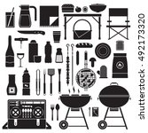 picnic and barbeque elements... | Shutterstock .eps vector #492173320