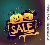 halloween seasonal sale offer... | Shutterstock .eps vector #492173680