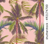 palm trees  tropical leaves ...   Shutterstock .eps vector #492174700