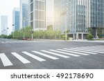 clean empty urban road and... | Shutterstock . vector #492178690