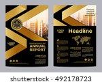 gold brochure layout design... | Shutterstock .eps vector #492178723