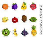 cartoon fruit cute characters...   Shutterstock .eps vector #492183553