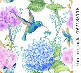 seamless pattern watercolor... | Shutterstock . vector #492186118
