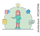 linear flat happy woman... | Shutterstock .eps vector #492187948