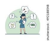 linear flat businesswoman... | Shutterstock .eps vector #492188548