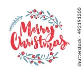 merry christmas text decorated... | Shutterstock .eps vector #492191200