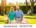 elderly couple on nature... | Shutterstock . vector #492191794