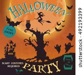 halloween party invitation.... | Shutterstock . vector #492193399