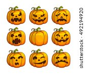 halloween scary pumpkins set of ... | Shutterstock .eps vector #492194920