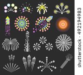 set of fireworks. fireworks... | Shutterstock .eps vector #492194983