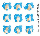 washing hands properly  ... | Shutterstock .eps vector #492195034