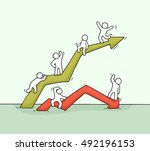 cartoon up and down diagram... | Shutterstock .eps vector #492196153