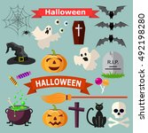 set of halloween ribbons and... | Shutterstock . vector #492198280