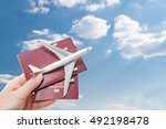airplane passport flight travel ... | Shutterstock . vector #492198478