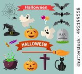 set of halloween ribbons and... | Shutterstock . vector #492199558