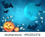 happy halloween design.... | Shutterstock . vector #492201376