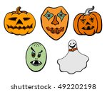 set of halloween monsters and... | Shutterstock . vector #492202198