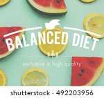food nutrition fit graphic... | Shutterstock . vector #492203956