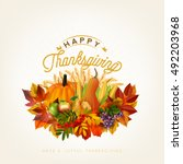 happy thanksgiving...   Shutterstock .eps vector #492203968