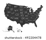map of usa with state... | Shutterstock .eps vector #492204478