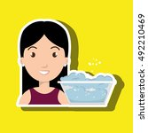 woman cartoon water bucket... | Shutterstock .eps vector #492210469