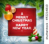 vector christmas and new year... | Shutterstock .eps vector #492214810