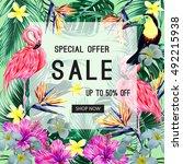 sale banner  poster. toucan ... | Shutterstock .eps vector #492215938