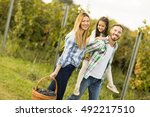 happy family in vineyard at... | Shutterstock . vector #492217510