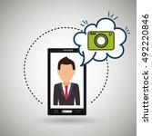 cartoon man smartphone camera | Shutterstock .eps vector #492220846