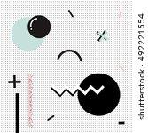 geometric memphis background... | Shutterstock .eps vector #492221554