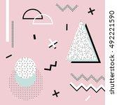 geometric memphis background...   Shutterstock .eps vector #492221590