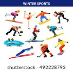 winter ice snow sports set... | Shutterstock .eps vector #492228793