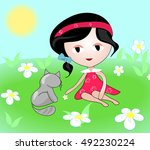 cartoon girl with  a cat | Shutterstock .eps vector #492230224