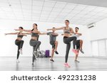 group of people doing exercises ... | Shutterstock . vector #492231238
