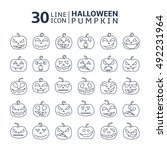 halloween pumpkin vector 30... | Shutterstock .eps vector #492231964