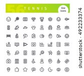 set of 56 tennis line icons... | Shutterstock .eps vector #492233374