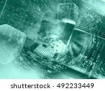computer background in greens... | Shutterstock . vector #492233449