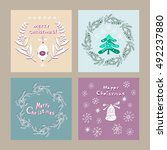 hand drawn christmas  card.... | Shutterstock .eps vector #492237880