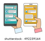 chat bot connected. man and... | Shutterstock .eps vector #492239164
