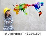 little girl engineering with... | Shutterstock . vector #492241804