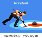 curling sport vector... | Shutterstock .eps vector #492242218