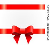 red ribbon bow  white... | Shutterstock .eps vector #492243193