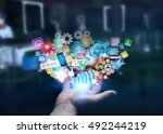 businessman connecting icons...   Shutterstock . vector #492244219